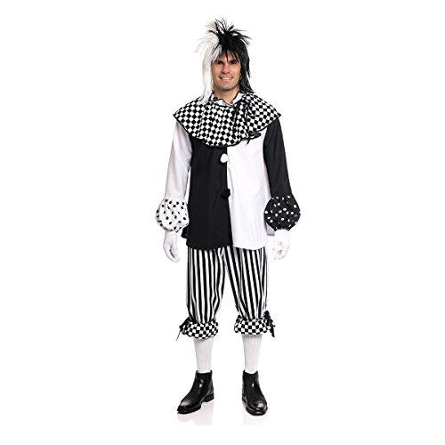 Pierrot Kostüm Herren Für - Kostümplanet® Harlekin Kostüm Herren schwarz-weiß Pierrot Pedrolino Größe 52-54