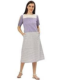 4db38159114 Desi Fusion Women s A-Line Blue   White Self Print Cold Shoulder Handloom  Dress