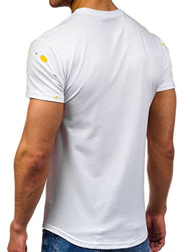 BOLF Herren T-Shirt Tee Print Slim Fit Kurzarm Party Classic MIX 3C3 Motiv Weiß_S031
