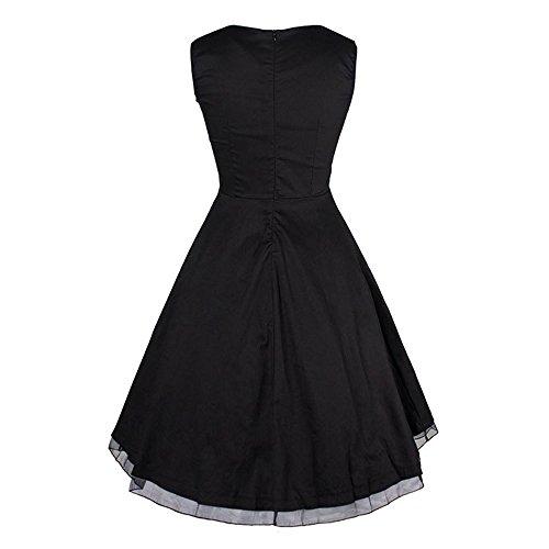 Dabag - 2017 Couleur pure ou rétro impression sans manches Hepburn style taille serrée jupe plissée collet carré genou longueur robe swing (M, Orange) Noir