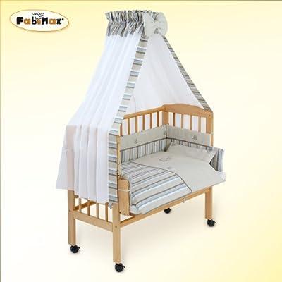 FabiMax Emily - Cuna para colocar junta a la cama con colchón y juego de cama de 8 piezas, varios colores