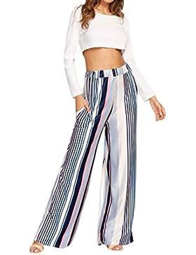 PAOLIAN Pantalones para Mujer Verano 2018 Casual Negocios Pantalones de Vestir Baggy Estampado Rayas Fiesta Cintura...