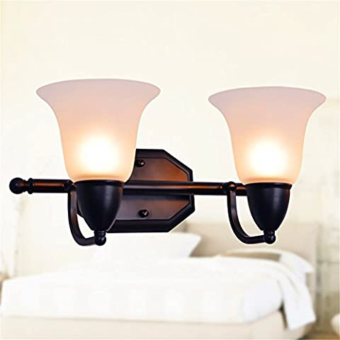 Larsure Vintage Industrial Style Wall Sconce Wall Light Lamp Iron Wall Sconce Wall Light Lamp Creative White Glass Shade Double Head Mirror Front Lamp Corridor Balcony Bedside Lamp, 380 * 190 *