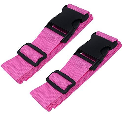 Wenter.S Koffergurte - einzigartiges Kofferband - Premium Gepäckgurt zur Individualisierung Ihrer Koffer - Gurt (Set 2 St.) pink rosa -...
