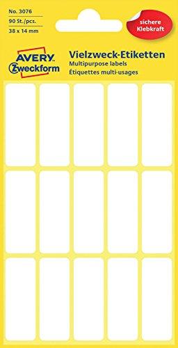 Avery Zweckform 3076 Haushaltsetiketten selbstklebend (38 x 14 mm, 90 Aufkleber auf 6 Bogen, Vielzweck-Etiketten für Haushalt, Schule und Büro zum Beschriften und Kennzeichnen) blanko, weiß