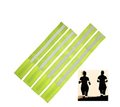 Reflektorband mehr Sicherheit im Strassenverkehr |4x Stück|Leuchtband mit Klettverschluss selbstklebend zum Joggen, Radfahren, Reiten, walken|Sicherheitsband reflektierend gelb für Hund, Katze & Pferd