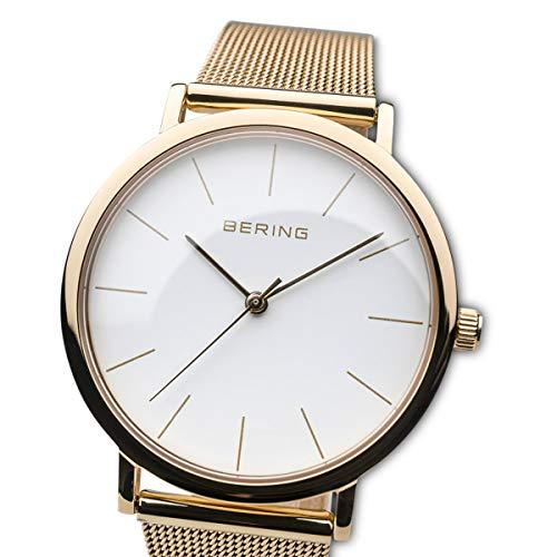 BERING Damen Analog Quarz Uhr mit Edelstahl Armband 13436-334