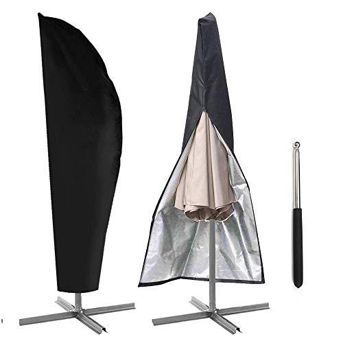 AYAMAYA Ampelschirm Schutzhülle mit Stab, Sonnenschirm Schutzhülle Marktschirm Glatz Hülle Ampelschirmhülle Wasserdicht mit Reißverschluss, Schutz Abdeckung Sonnenschirm UV-Schutz für 3-3,5m