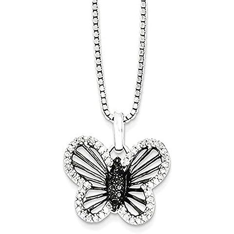 Sterling Silver Black & White Diamond Necklace pendente della farfalla