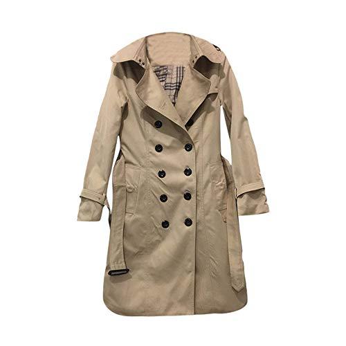 sunnymi Frauen Mantel Casual Jacke Winter Revers Zweireiher Slim Long Trench Coat