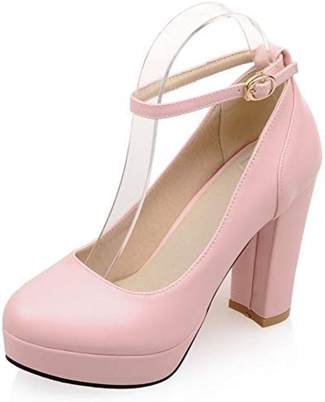 49f6433a5d45 AalarDom Women s High-Heels Pu Solid Buckle Buckle Buckle Round Closed Toe  Pumps-Shoes