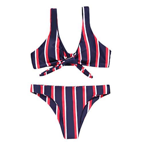 TIFIY Damen Badeanzug Streifen Drucken Bikini Sets Geknotete gepolsterte Tanga Bikini Mitte Taille Scoop Strand Bademodeuff08rot,L