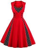 Oriention Womens 3/4 Sleeve Vintage 1950's Inspired Button Swing Evening Dress Rockabilly Pinup Bridesmaid Cocktail Gowns Ball Gown Party Dress (20, Sleeveless-Red/Dot)