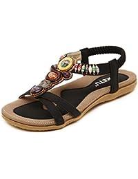 Damen Sommer Sandalen Rom Strand Clip Toe Flache T-Strap Low Cut Schuhe, Schwarz, 39