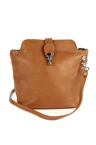 Belli kleine edle italienische Leder Handtasche Umhängetasche in cognac braun - 18x20x8 cm (B x H x T) -