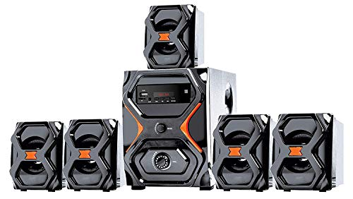 IKALL 5.1 Home Theatre Speaker System with USB/AUX/FM Function (Black)