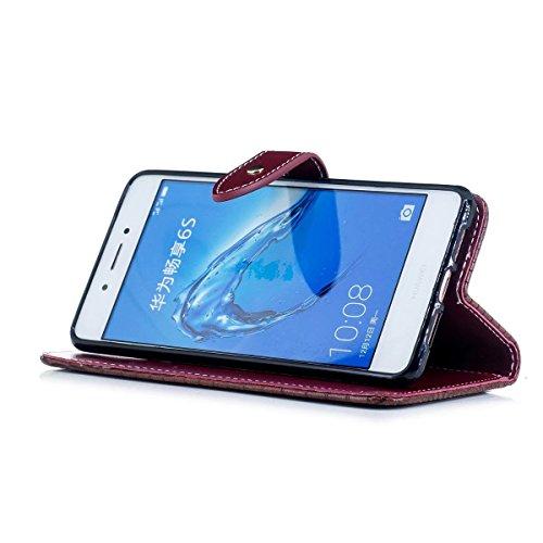 LEMORRY Huawei Enjoy 6 Custodia Pelle Cuoio Flip Portafoglio Borsa Sottile Bumper Protettivo Magnetico Morbido Silicone TPU Cover Custodia per Huawei Enjoy 6 (Honor 6C, Nova Smart), Stile di lusso di  Marrone