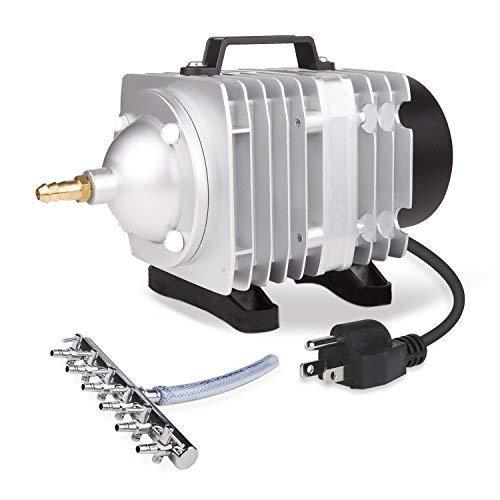 VIVOSUN Leistungsstarke Luftpumpe mit Mehreren Luftteilern für Aquarium und Hydrokultursysteme 50 W (Aluminium Luft Tank)