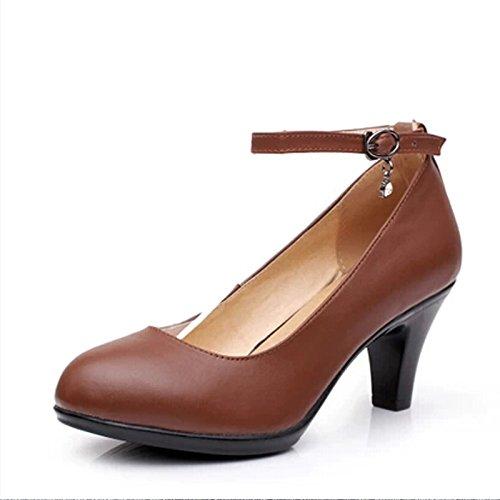 KPHY-LEstate E LAutunno Pesante Tallone Con Scarpe Da Lavoro Le Donne Indossano Scarpe Professionale Una Parola Scarpe Migliori 5.5Cm Scarpe E Scarpe Da Donna brown