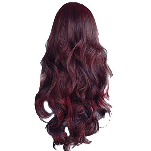 DOGZI Perücke Kostüm Langhaar Haarnetz, Lange Synthetische Spitzeperücke Lange Wellenförmige Perücken Körperwelle Frauen Hitzebeständiges Haar