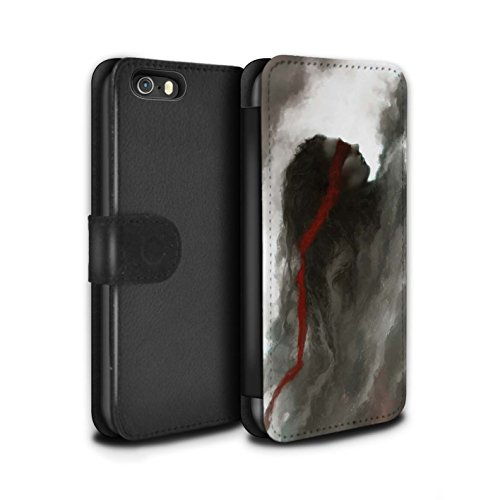 Offiziell Chris Cold PU-Leder Hülle/Case/Tasche/Cover für Apple iPhone SE / Sonnengott/Reben Muster / Unterwelt Kollektion Rotes Band-Engel