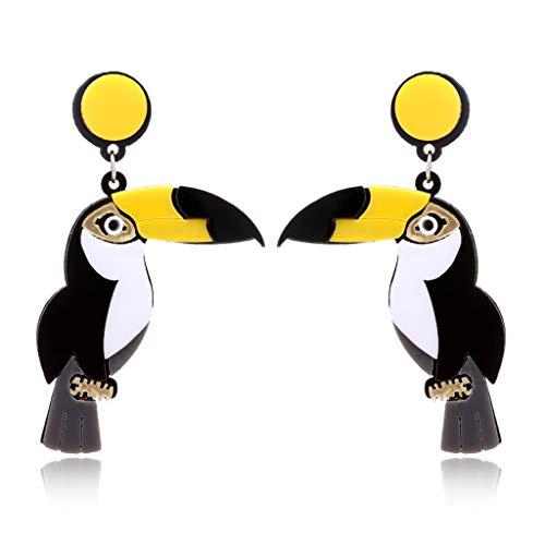 Hergon Ohrringe, Frauen Fashion Bright Acryl Papagei Vogel Tropfen Ohrringe Stand Out Modeschmuck (A#) -