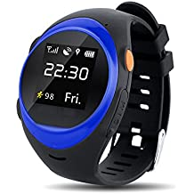 S888A Smart Watch Newest Wifi GPS Smartwatch for Kids Elderly Safety Watch,Smartwatch Phone with SIM Calls Anti-lost GPS Tracker smart watch for Android / IOS (Blue)