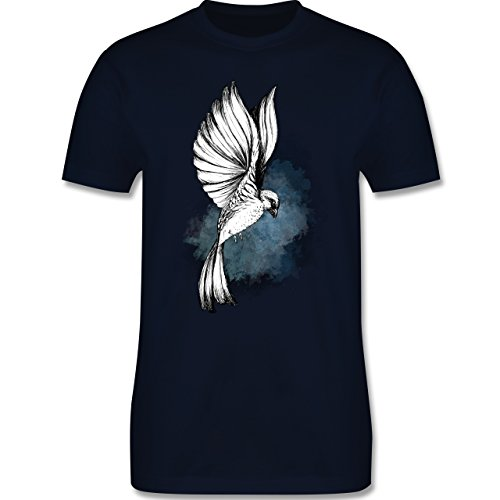 Vögel - Vogel Aquarelle Zeichnung - L - Navy Blau - L190 - Herren T-Shirt Rundhals