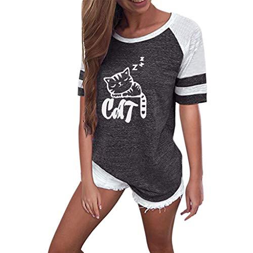 Frauen Rundhals Lange Hülsen Spleiß Blusen Oberseiten Kleidung T-Shirt Tops Pullover ()