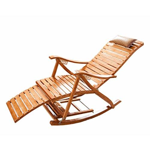 QINGPINGGUO QPG Bambus Lounge Chair Folding Mittagspause Freizeit Stuhl Siesta Bett Erwachsene Klappstuhl Massivholz Alte Leute Coole Stuhl Hause - Hocker Schaukelstuhl Gepolsterte
