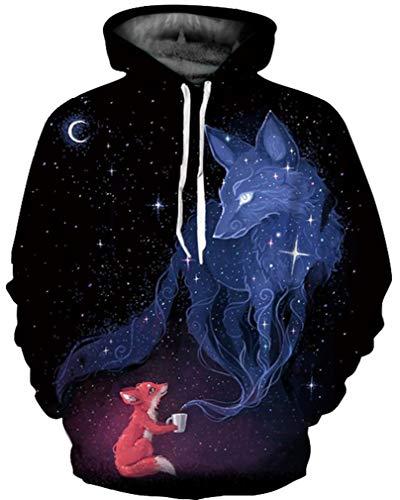 Ocean Plus Herren 3D Mehrfarbig Hoodie Schädel Kapuzenpullover Bunt Wolf Pulli Totenkopf Sweatshirt mit Kaputzen (XXL/3XL (Brustumfang: 126-146CM), Kleiner Fuchs Traum) Schädel-sweatshirt