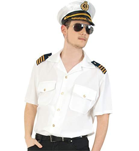 KarnevalsTeufel Herrenkostüm-Set Kapitän 3-teilig Hemd in weiß mit Mütze und Pilotenbrille Kapitän Flugzeugführer Uniform ()