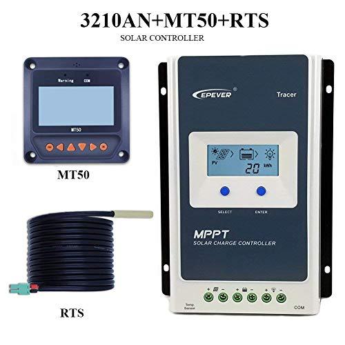 Controlador de carga solar EPEVER MPPT Tracer Un controlador solar + medidor remoto MT-50 Carga solar con pantalla LCD para carga de batería solar (30A + MT50 + RTS)