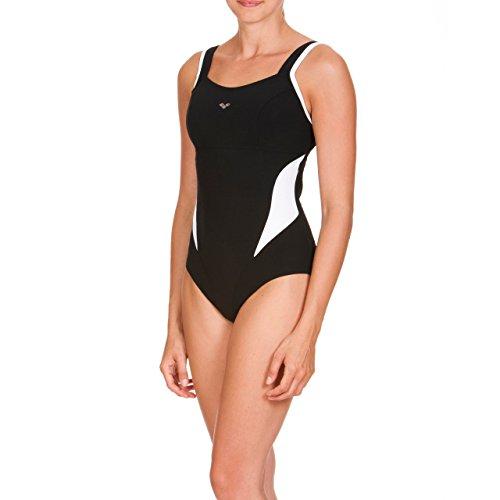 arena Damen Bodylift Badeanzug Makimurax B-Cup (Shapingeffekt, Figurformend, Schnelltrocknend, UV-Schutz), Black-White (51), 36