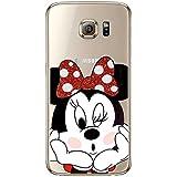 S6 TPU Funda Gel Transparente Carcasa Case Bumper de Impactos y Anti-Arañazos Espalda Cover, Glitter Special Colección Collection, Disney Minnie Mouse, Galaxy S6