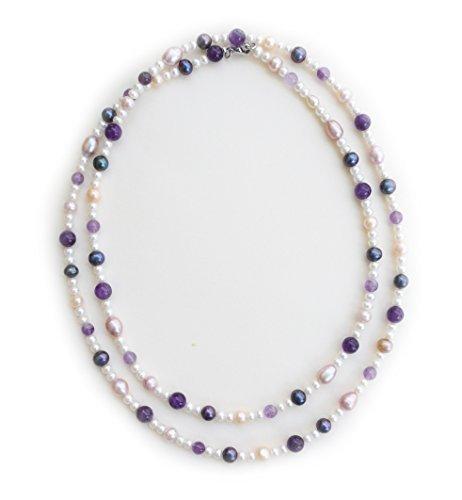Collana sautoire in ametista, vere perle di cultura di acqua dolce. Attache acciaio.