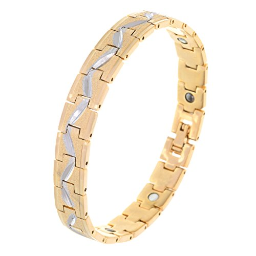 BeBold Bio Magnetic Gold Stainless Steel Cross Line New Fashion Bracelet for Men Boys  available at amazon for Rs.469