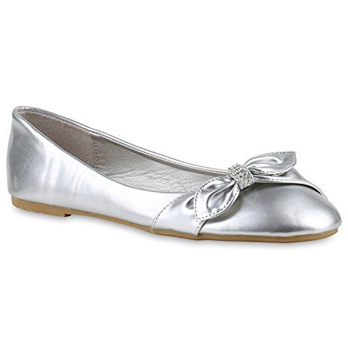 Damen Ballerinas Klassische Ballerinas Schleifen Flach Übergrößen Silber Schleife Steinchen