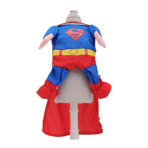 GLZKA Haustier Kostüm Lustige Kleidung Superman Spinnenschläger Stehend Halloween Polyester Bequem Lässig Für Tägliche Party Urlaub Fotoshootings,Superman,XS (Hunde Tragen Superman Kostüm)