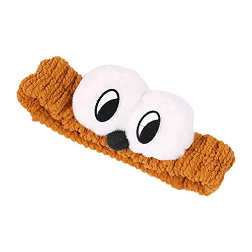 chenpaif Women Girls Thicken Pleated Wide Headband Cute Cartoon Fluffy Plush Big Eyes Hairband Wash Face Makeup Bath Stretchy Headwrap Ginger