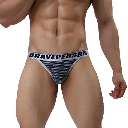 Hunpta Männer männliche Unterwäsche Männer Slips Sexy Low-Waist Unterhose (M, Dark Blue)