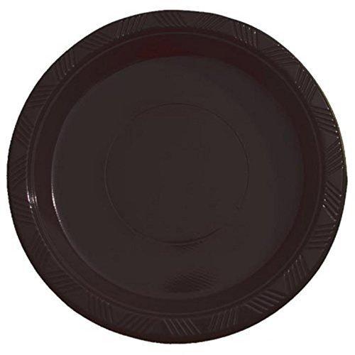 Exquisite Kunststoff Dessert/Salat Teller-Farbe Einweg Teller-50Zählen. 10 Inch. schwarz (Kunststoff-platten Bulk)