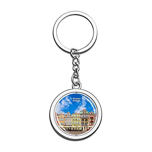 Polen Schlüsselbund Alter Marktplatz Posen 3D Kristall Drehen Rostfreier Stahl Schlüsselbund Reisen Stadt Andenken Schlüsselring (Eine Halloween Stadt Alte)