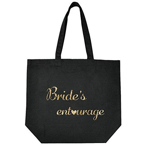 ElegantPark Bride`s Entourage Handmade Einkauftstasche Hochzeit Braute Schwarz Canvas Schultertasche Tasche 100% Baumwollen mit Gold Skript Bride`s Entourage X 1