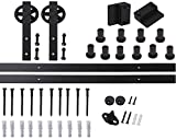 Home Dekorieren American Country Stil Single Tür Hardware Big-speichiges Rad geformte Kleiderbügel Superior Qualität Schiebetür Barn Holz Hardware Track Kit, schwarz