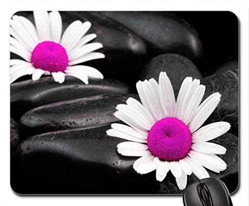 Double Daisy's Mouse Pad,Flowers Non-Slip Mouse Pad Office Competitive Mouse Pad 18X22cm Sa-daisy