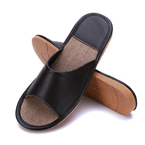 Mhgao da donna in pelle Home interior pantofole per il tempo libero 1
