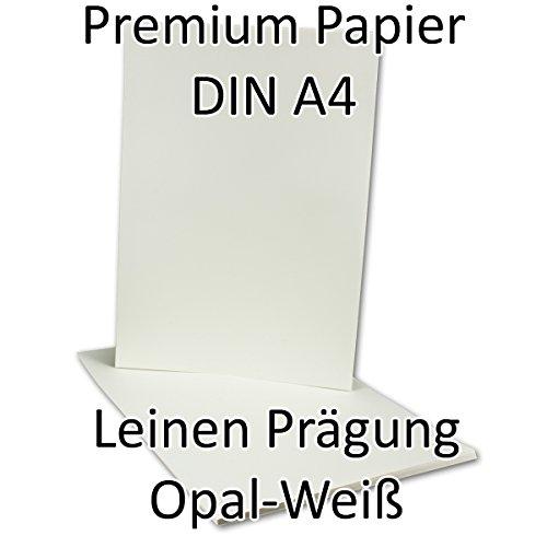 50 Stück//Briefbogen DIN A4, Opal-Weiß mit Leinen-Struktur Prägung, 210 x 297 mm, 110 g/m²//aus dem Hause Neuser, Serie O.P.A.L (Leinen Elfenbein Weiß)