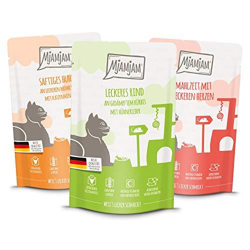 MjAMjAM - Premium Nassfutter für Katzen - Mixpaket I - Huhn, Rind, Herzen, 12er Pack (12 x 125 g), getreidefrei mit extra viel Fleisch