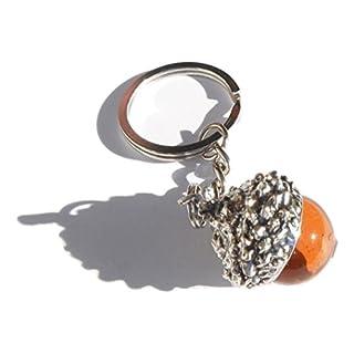 Acorn Keyring Amber Glass Acorn Chrome Metal Keychain Gift Boxed